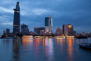 HCMC river view from dist.2 to Dist.1. The skyline at night